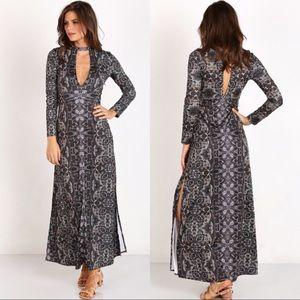 Free People Cabaret Long Sleeve Boho Maxi Dress